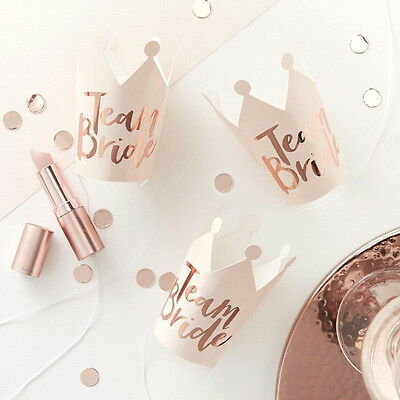HEN PARTY Rose Gold Party CROWNS x 5 Bride to Be Party Bridal Shower Fun Paper
