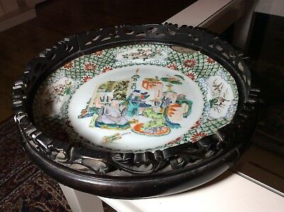 19TH C CHINESE PORCELAIN FAMILLE VERTE MOUNTED PLATE, Minor Damage
