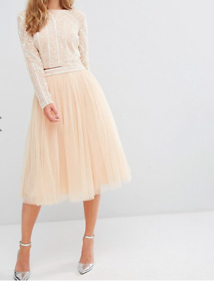 Maya Tulle Midi Skirt with Embellished Waist (T112) RRP £65.00 UK 10 - Nude