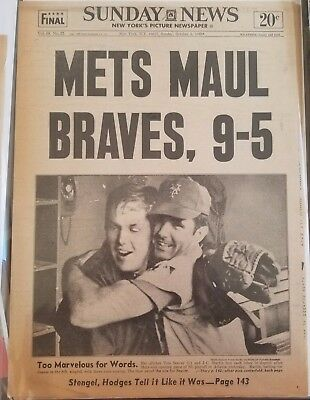 """mets Maul Braves, 9-5"" Front Page Ny Daily News 10/3/1969 Game 1 Nlcs"