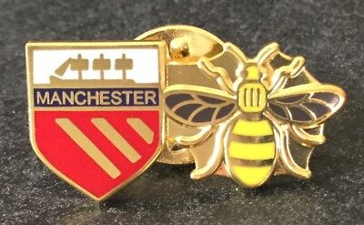 Manchester Working Bee Red Shield Enamel Pin Badge - Ideal Gift 🎁 ❤️ Manchester