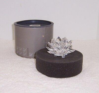 Swarovski Silver Crystal Water Lily Candle Holder with Original Box