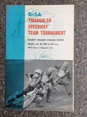 Speedway programme autographed by Ivan Mauger and Ronnie Moore plus 2 others