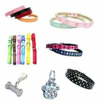 WHOLESALE JOB LOT 46x Crystal Dog Pet Collars and Charms