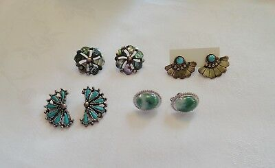 Lot 4 Pairs Sterling Silver Earrings Turquoise Abalone Native American Mexico