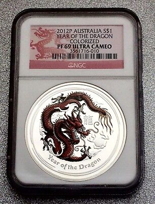 2012-P Australia Year of The Dragon 1 oz. Silver Coin-Colorized PF69 NGC