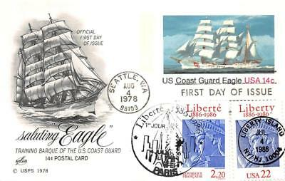 2224 22c Statue of Liberty, Artcraft, joint issue with France on UX76 [D280990]