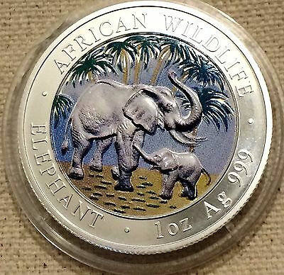2007 Somalia Republic African Wildlife Elephant 1 oz .999 Silver Coin-Colorized