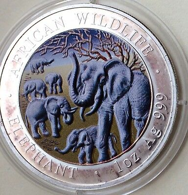 2008 Somalia Republic African Wildlife Elephant 1 oz .999 Silver Coin-Colorized