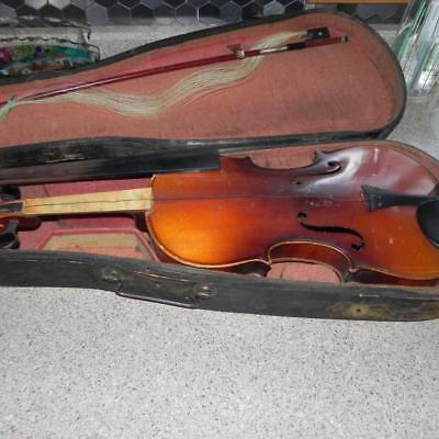 #1885 Vintage Old Brown Wood Wooden Violin Fiddle in Carrying Case Parts REpairs