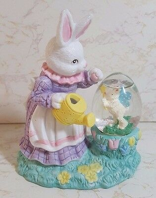 Jcpenny Easter Porcelain Bisque Lady Rabbit W/water Ball