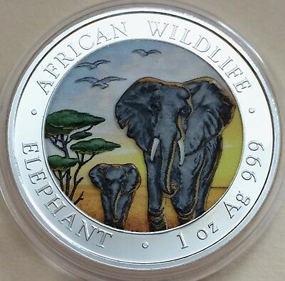 2015 Somalia Republic African Wildlife Elephant 1 oz .999 Silver Coin-Colorized