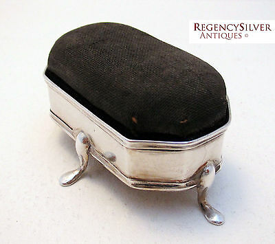 EDWARDIAN (1909) ANTIQUE Solid Sterling Silver English Sewing Pin Cushion Box