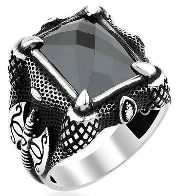 Handmade 925 SILVER Turkish ring black crystal for Men all sizes jewelry RRP£30