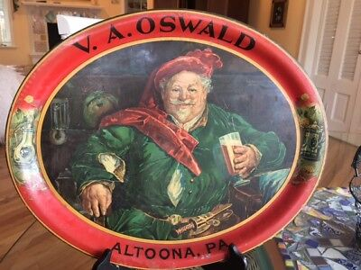 Antique 1901 Pre-Pro V.a. Oswald, Altoon, Pa, Beer Tray-Incredibly Rare