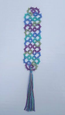New Handmade Tatted lace Bookmark-Multi color/varigated