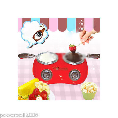 New Red Mini Electric Chocolate Cheese Fondue Set Fountain Double Pan Type