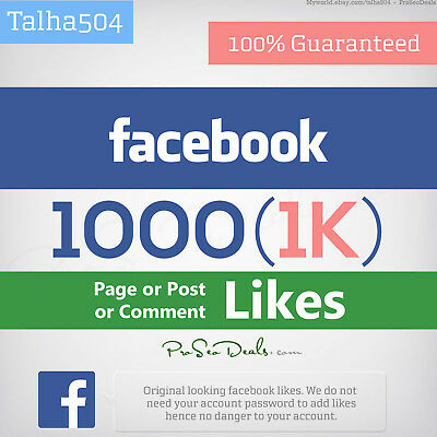 1,000 Facebook/Likes for page or post or comment | Best Quality