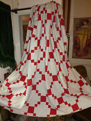 2 Large Matching Antique Handstitched Irish Red+White Cotton Bedspread/quilts