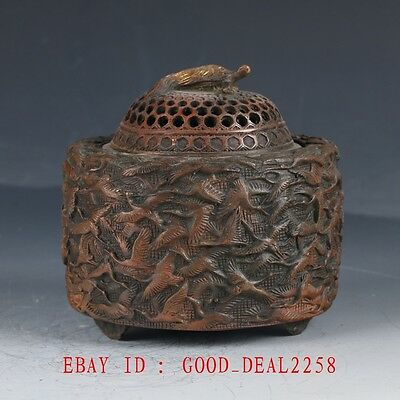 Crusted Copper Crane Incense Burner With Ming Dynasty Mark HT119