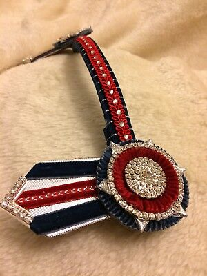 """12"""" Navy + Red Velvet Showing Browband *** clearance price ***"""