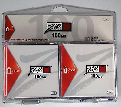 20 New Iomega Zip Disks 100 MB Colored Disks - You are ordering Two 10 Packs