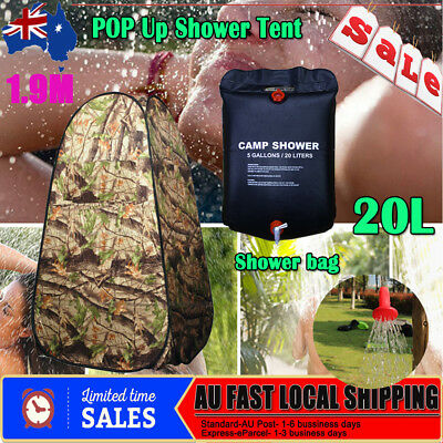 Pop Up Camping Shower Toilet Tent Outdoor Privacy Change Room Shelter + Bag 20L