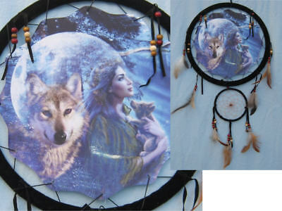 13In Indian Maiden Wolf and Pup in front of Moon Double Dream Catcher Reproducti