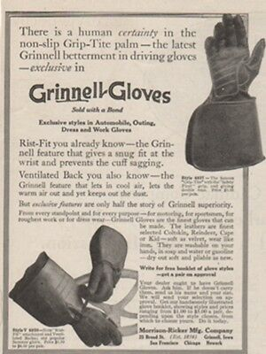 1914 Grinnell Driving Gloves Morrison Ricker Iowa Vintage Style 4827 V4020 Ad