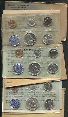 Silver US Mint Proof Sets 1957, 1958, 1959
