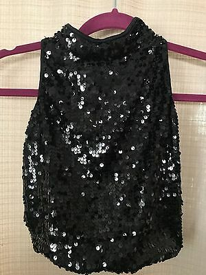 Dance or Club S Adult Black Sequin Crop Top Jazz Tap Hip Hop Solo Competition