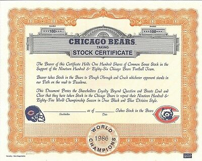 Stk-Chicago Bears Certificate for Celebrating 1986 NFL Champions. Da Bears.
