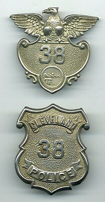 Cleveland OH Police breast & hat badge set - low number - Ohio sheriff