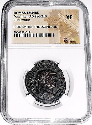 Roman Emperor Maximian Bi Nummus Coin,The Dominate 286-310 A.D. NGC Certified XF