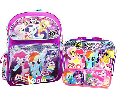 """My Little Pony School Backpack Lunch Bag Set 16"""" Bag 3pc  w/Pencil Pouch"""