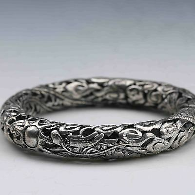 Tibet Silver Hand Carved Dragon&Phoenix Hollowed Bracelet  G714