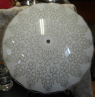 """Vintage Retro Mid Century Ceiling Light Lamp Glass Shade Frosted Floral 12.75"""""""