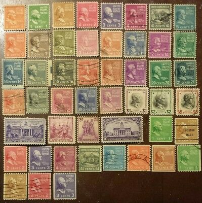 Scott# 803-851 Complet Set Of 1938 President Issue Us Stamps Used Collection Os4