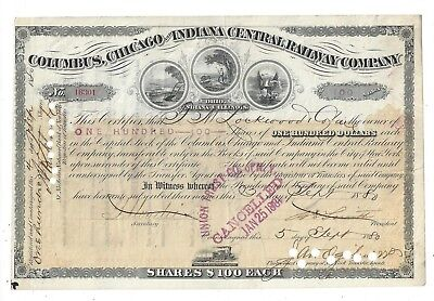Stk-Columbus, Chicago & Indiana Central RY 1880 Peach 4 vignettes
