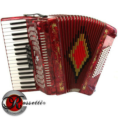 New Rossetti Piano Accordion 72 Bass 34 Keys 5 Switches Red R3472-Rd + Case