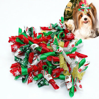 10/50/100pcs Wholesale Pet Cat Dog Christmas Hair Bows Accessories Dog Grooming