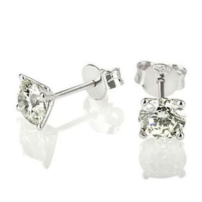 0.9 Ct Certified Round Cut Solitaire Diamond 18K White Gold Stud Post Earrings