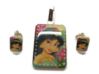.925 Sterling Silver Princess Jasmine Earrings And Pendent