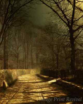 Moonlit Lane With Two Lovers by John Atkinson Grimshaw - Night 8x10 Print 1428