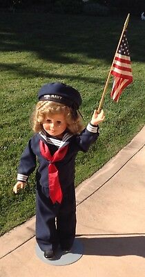 1984 Vinyl Shirley Temple Doll, 36 inch redressed as US Navy Doll