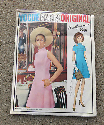 Original 1960s  Vogue Paris Original Dress Pattern Molyneux   32 1/2  Uncut