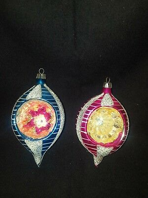 Vintage Christmas Ornaments Tear Drop Indented Pink & Blue Made in Poland