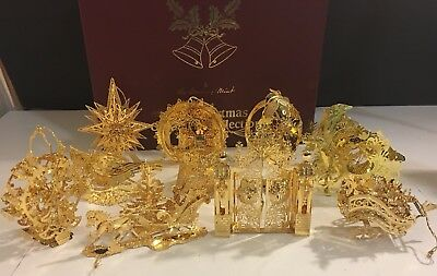 Danbury Mint Gold Christmas Ornaments 12 With Box Disney Mixed Years