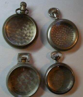 Lot of 4 Nickel Pocket Watch Cases for Parts or Repair or Crafts