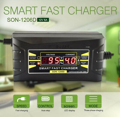 12V 6A Smart Fast Lead-acid Battery Charger for Car Motorcycle LCD&Display EU/US